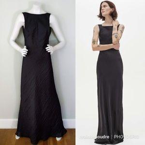 Vtg ABS Allen Schwartz Black Backless Maxi Gown S